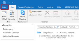 Outlook 2016 / Schritt 1